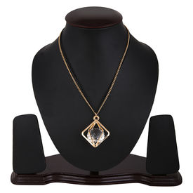 Pink Rose - Cool Collection Gold Black Alloy Stone Charm Necklace For Women, 25, gold/black, alloy