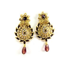 Pink Rose - Purple dangle Earring