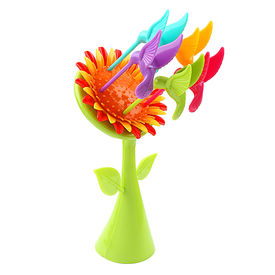 Pink Rose Sunflower Stylish Multicolour Plastic Fruit Fork Stand for Gift / Diwali Gift (Set of 2 Stands With 5 Forks Each), 16x6x6, plastic, multicolour