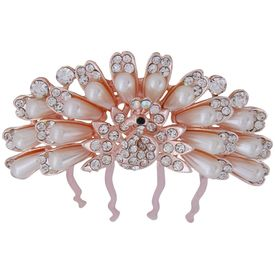 Pink Rose - Complement Collection Bronze White Pearl Alloy Stone Bridal Mayur Charm Hair Pin For Women (Head Gear/Juda Pin/Stick)