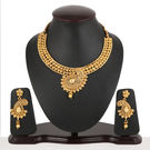 Pink Rose - Complement Collection Gold Alloy Kundan Royal Charm Necklace Set For Women, 22, gold, alloy
