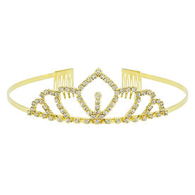 Pink Rose - Complement Collection Gold Stone Alloy Crown For Women, free, gold, alloy