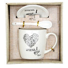 Pink Rose White Bone China I Love You Coffee Mug Set For Valentines Gift / Diwali Gift / Gift, 18x16x9.5, bone china, white