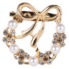 Pink Rose - Bridal Collection Gold Alloy Stone Pearl Sari Pin For Women, alloy, gold, 4