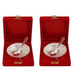 Pink Rose Silver Decorative White Metal Kheer Bowl Set For Gift / Diwali Gift (Set Of 2 Bowl, 2 Spoon), 12x12x5, white metal, silver
