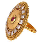Pink Rose - Bridal Collection Gold Maroon White Polki Stone Copper Ring For Women/Girls, copper, adjuatable, gold