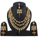 Pink Rose - Complement Collection Maroon Green Gold Kundan Copper Princess Delight Necklace Set With Maank Tikka For Women