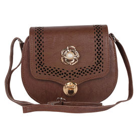 Pink Rose - Complement Collection Brown Elegant Sling Bag For Women/Girls, brown, pu, 20x16x6
