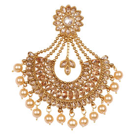Pink Rose - Bridal Collection Gold Polki Stone Pearl Copper Pasha/Jhoomer For Women/Girls, 11, gold, copper
