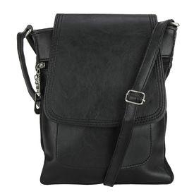 Pink Rose - Elegant Collection Black Charm Sling Bag For Women/Men, 26x22x5 cm, black, pu