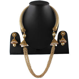 Pink Rose - Complement Collection Gold White Pearl Copper Royal Delight Necklace Set For Women