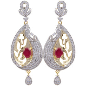 Pink Rose - Complement Collection American Diamond Ruby White Brass Love Drops For Women