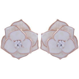 Pink Rose - Complement Collection White Alloy Floral Studs For Women