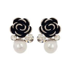 Pink Rose - Blue Rose Earrings
