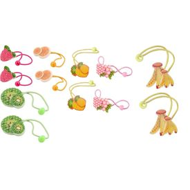 Pink Rose - Fun Collection Multicolour Charm Fruits Plastic Hair Band Combo For Girls (Set Of 6 Pairs)
