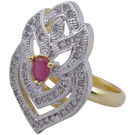 Pink Rose - Complement Collection Ruby White American Diamond Alloy Passion Ring For Women