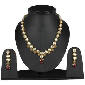 Pink Rose - Complement Collection White Gold White Maroon Kundan Copper Princess Delight Necklace Set For Women