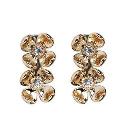 Pink Rose - Complement Collection Gold Alloy Charm Hair Clips For Women (Set of 2)
