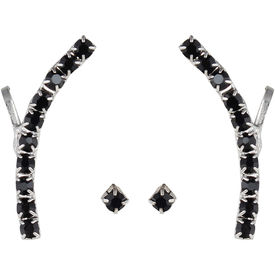 Pink Rose - Complement Collection Black Stone Alloy Princess Charm Earcuff For Women