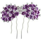 Pink Rose - Complement Collection Purple Stone Alloy Princess Rose Hair Pin For Women (Head Gear)