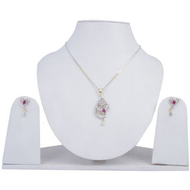 Pink Rose - Complement Collection Ruby White American Diamond Alloy Leaf Pendant Set For Women