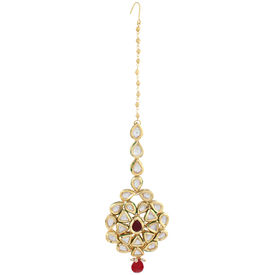 Pink Rose - Complement Collection White Maroon Gold Kundan Copper Princess Love Maang Tikka For Women