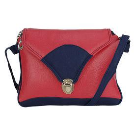 Pink Rose - Elegant Collection Pink Blue Charm Sling Bag For Women, 26x22x5 cm, pink/blue, pu