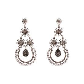 Pink Rose - Black hanging sensation Earrings