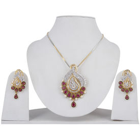 Pink Rose - Complement Collection Ruby White American Diamond Brass Royal Charm Pendant Set For Women