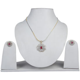 Pink Rose - Complement Collection Ruby White American Diamond Alloy Floral Charm Pendant Set For Women