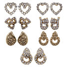 Pink Rose - Office Collection White Brown Stone Charm Studs Combo For Women/Girls (Set Of 7), alloy, white/brown, 1