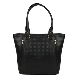 Pink Rose - Complement Collection Black Elegant Handbag For Women/Girls, black, 37x30x10, pu