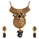Pink Rose - Devine Collection Gold Black Polki Stone Copper Double Chain MangalSutra Set For Women, copper, 22, gold/black