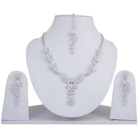 Pink Rose - Complement Collection White Alloy Princess Love Necklace Set For Women