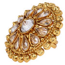 Pink Rose - Bridal Collection Gold Polki Stone Copper Ring For Women/Girls, adjuatable, gold, copper