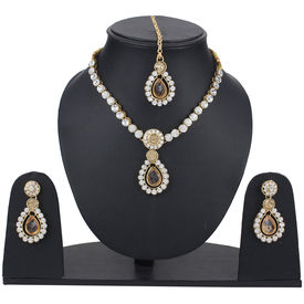 Pink Rose - Complement Collection Brown Stone Alloy Princess Delight Necklace Set With Maang Tikka For Women
