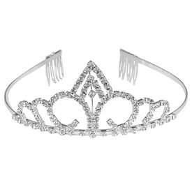 Pink Rose - Princess Collection White Alloy Stone Crown For Women/Girls, alloy, white, free