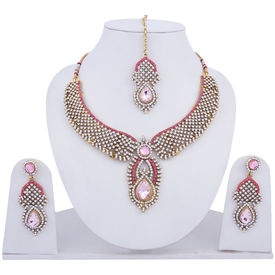 Pink Rose - Complement Collection Pink White Alloy Princess Love Necklace Set For Women
