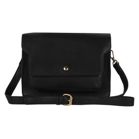 Pink Rose - Complement Collection Black Elegant Sling Bag For Women/Girls, black, pu, 24x17x5