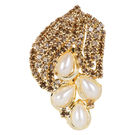 Pink Rose - Bridal Collection Brown Alloy Stone Pearl Sari Pin For Women, alloy, brown, 4
