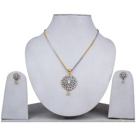 Pink Rose - Complement Collection American Diamond White Alloy Princess Love Pendant Set For Women