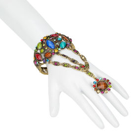 Pink Rose - Fun Collection Multicolour Gold Alloy Stone Charm Hand Thong For Women