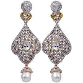 Pink Rose - Complement Collection American Diamond White Pearl Alloy Princess Charm Drops For Women