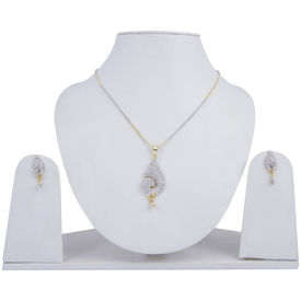 Pink Rose - Complement Collection White American Diamond Alloy Passion Pendant Set For Women