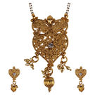 Pink Rose - Devine Collection Gold Stone Alloy Double Chain Heart MangalSutra Set For Women, alloy, 22, gold
