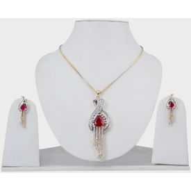 Pink Rose - Complement Collection Ruby White American Diamond Brass Queens Delight Pendant Set For Women
