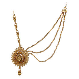 Pink Rose - Bridal Collection Gold Brown Stone Alloy Matha Patti For Women, alloy, gold, 21