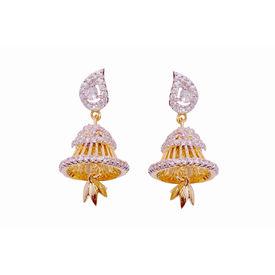 Pink Rose - Stylish golden jhumki earrings