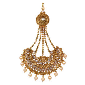 Pink Rose - Bridal Collection Gold Polki Stone Kundan Pearl Copper Pasha/Jhoomer For Women/Girls, copper, 13, gold