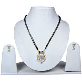 Pink Rose - Devine Collection Black White Alloy Blessings Double Chain MangalSutra Set For Women